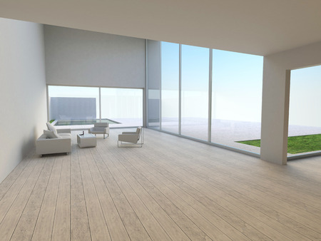 lowboard: Simply and modern living room interior with lounge furniture   outside view - 3d render illustration