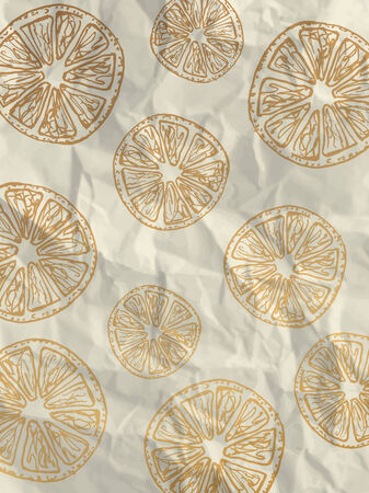 crumpled paper texture: White wrapping paper with gold orange slices on crumpled paper texture - vintage pattern