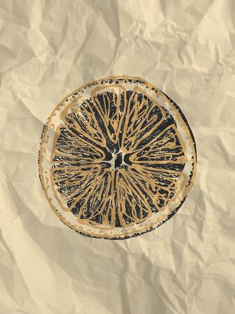 crumpled paper texture: Orange slice on bright crumpled paper texture background - vintage illustration
