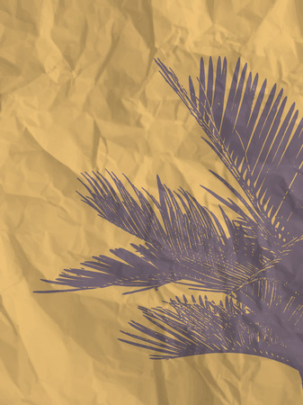 crumpled paper texture: Palm leaf on yellow crumpled paper texture background - vintage illustration