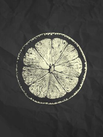 crumpled paper texture: Orange slice on black crumpled paper texture background - vintage illustration Illustration