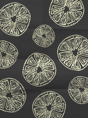 Black and white wrapping paper with orange slices on folded in eight paper texture - vintage pattern Vector