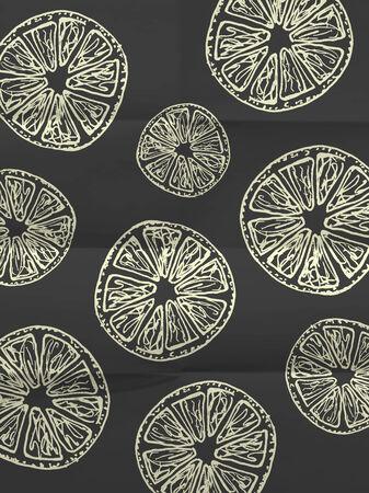 textura papel: Papel de regalo blanco y negro con rodajas de naranja sobre plegados en ocho textura de papel - patr�n de la vendimia