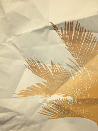 crumpled paper texture: Palm leaf on bright crumpled paper texture background - vintage illustration