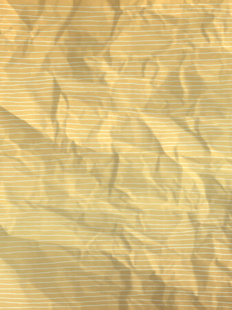 crumpled paper texture: Vintage wrapping paper with hand drawn white horizontal lines on yellow crumpled paper texture