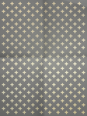 crumpled paper texture: Vintage gray wrapping paper with crosses on crumpled paper texture Illustration