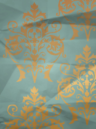 wrapper: Vintage wrapping paper with wallpaper pattern on crumpled paper texture Illustration