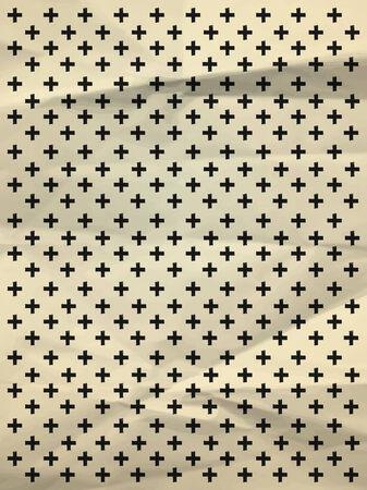 textura papel: Papel de regalo blanco y negro de la vendimia con las cruces en textura de papel arrugado Vectores