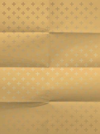textura papel: Papel de regalo amarilla de la vendimia con las cruces en plegados en ocho textura de papel Vectores