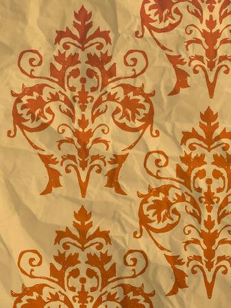textura papel: Papel de embalaje de color naranja de la vendimia con el patr�n de fondo de pantalla en textura de papel arrugado Vectores
