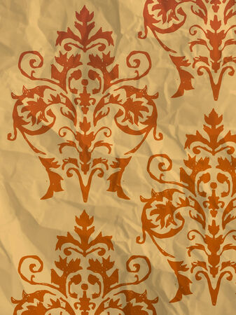 Vintage orange wrapping paper with wallpaper pattern on crumpled paper texture
