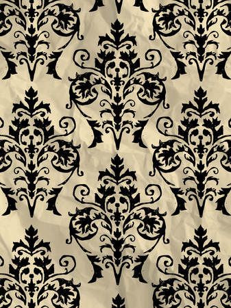 textured paper: Vintage black and white wrapping paper with wallpaper pattern on crumpled paper texture