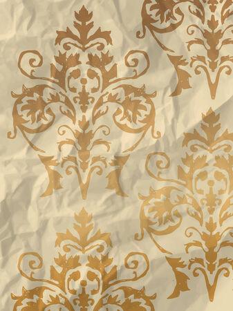 textura papel: Papel de regalo brillante de la vendimia con el patr�n de fondo de pantalla en textura de papel arrugado Vectores