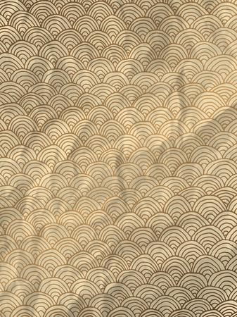 textura papel: Papel de embalaje de oro de la vendimia con las ondas dibujadas a mano geom�trica en textura de papel arrugado Vectores