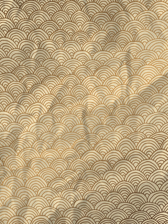 crumpled paper texture: Vintage gold wrapping paper with geometric hand drawn waves on crumpled paper texture