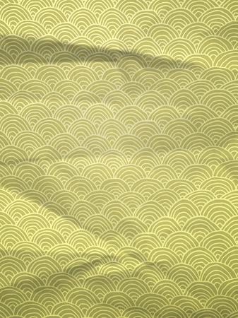 textura papel: Papel de regalo verde de la vendimia con las ondas dibujadas a mano geom�trica en textura de papel arrugado Vectores
