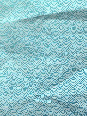 textura papel: Papel de regalo azul de la vendimia con las ondas dibujadas a mano geom�trica en textura de papel arrugado