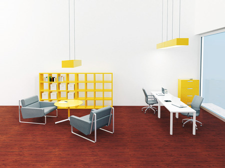 Simply and modern interior office with lounge place with cherry wood floor and yellow colour accent - 3d render illustration illustration