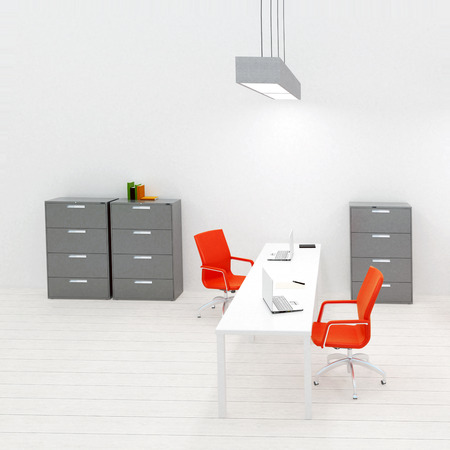 seating furniture: Simply and modern office interior in gray collors and orange accent - 3d render illustration