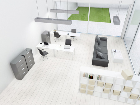 Simply and modern office interior in gray and white colours - 3d render illustration illustration