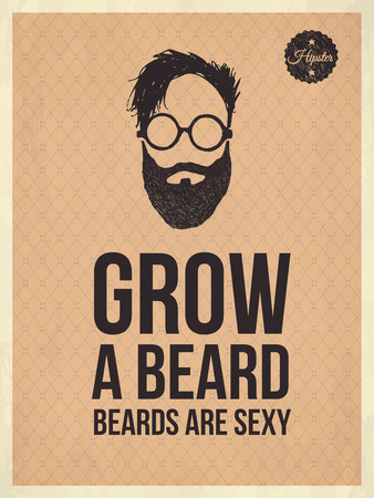 Hipster vintage trendy look quotes, Grow a beard Çizim