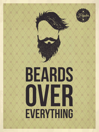 Beards over everything - Hipster quote and face look hand drawn illustration on the vintage background with repeating geometric tiles of rhombuses Vector