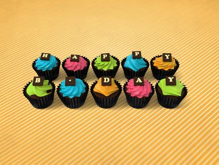 rayures vintage: Petits g�teaux Happy Birthday - illustration de muffins color� sorci�res cr�me et chocolat lettres sur fond mill�sime rayures,