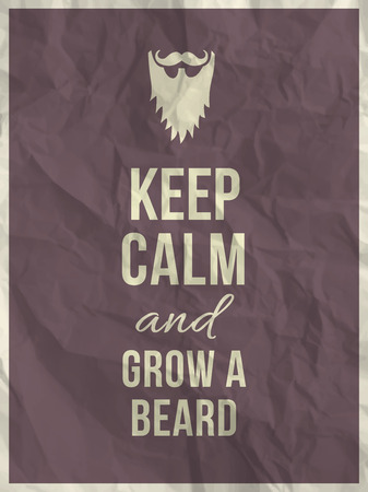 Keep calm and grow a beard quote on purple crumpled paper texture with frame