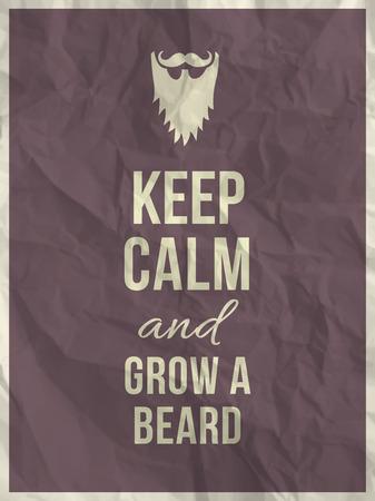 textura papel: Mantener la calma y hacer crecer una cotizaci�n barba en p�rpura textura de papel arrugado con el marco