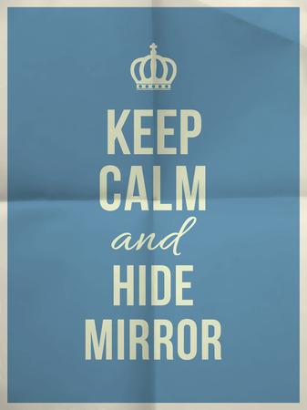 textura papel: Mantenga cita espejo calma y ocultar el azul doblado en cuatro textura de papel con el marco