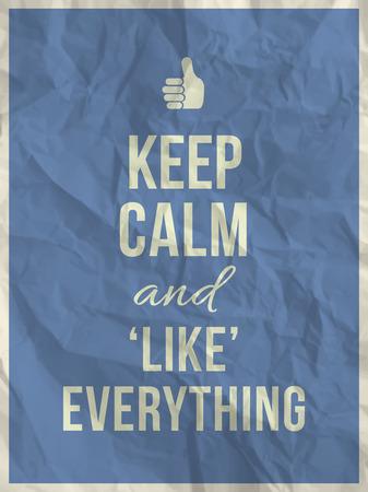 textura papel: Mantener la calma y como todo lo cita en azul textura de papel arrugado con el marco