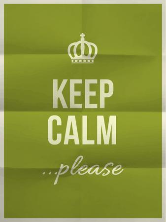 textura papel: Mantener la calma por favor, cita en verde doblado en ocho textura de papel con el marco Vectores