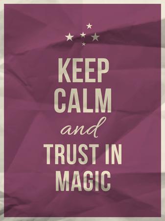 buena suerte: Mantener la calma y la confianza en la cita mágica en púrpura textura de papel arrugado con el marco Vectores