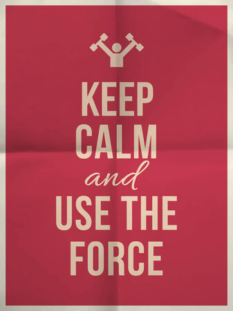felicity: Keep calm and use the force quote on pink folded in four paper texture with frame