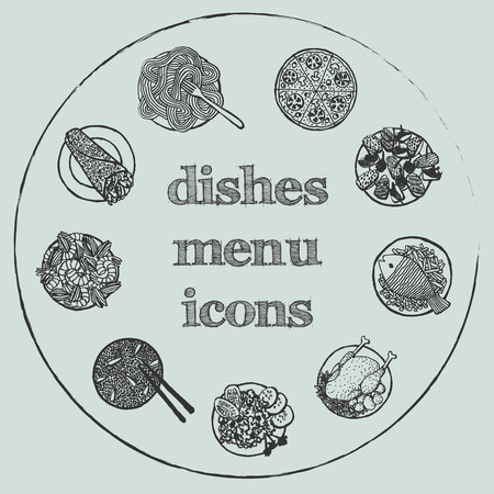 Dishes menu icon - hand-drawn icon set on gray circle background Vector