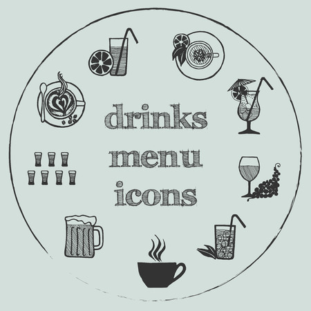Drinks menu icon - hand-drawn icon set on gray circle background Vector