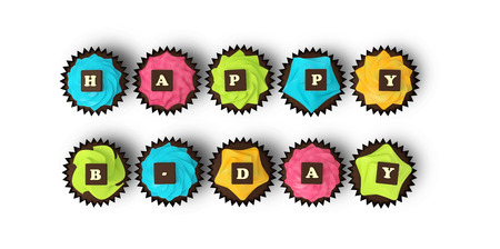 b day party: Happy Birthday cupcakes - top view render illustration of colorful muffins with cream and chocolate letters clipping path on white background