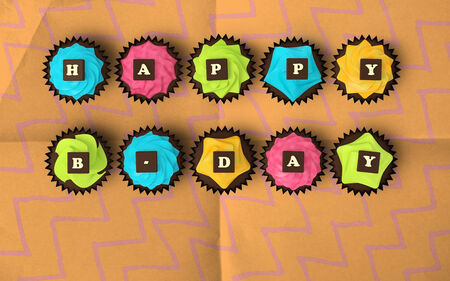 b day party: Happy Birthday cupcakes - top view illustration of colorful muffins with cream and chocolate letters on vintage paper background