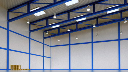 storeroom: Interior of a warehouse - empty space of magazine with blue colour construction and beam light - 3d render illustration image
