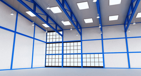 empty warehouse: Interior of a warehouse - empty space of magazine with blue colour construction - 3d render illustration image Stock Photo