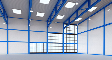 Interior of a warehouse - empty space of magazine with blue colour construction - 3d render illustration image illustration