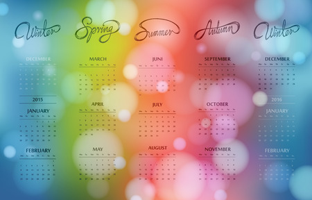 colourfull: Colourfull bokeh calendar design 2015 with hand drawn seasons at one page