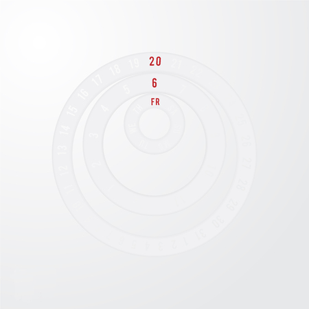 modification: paper cut circle universal calendar design with red date selection, easy to modification, gray and white