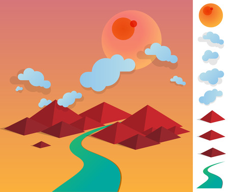 colourfull: Geometric illustration landscape of river between hills - colourfull with used elements set like cloud, sun, hills and river Illustration