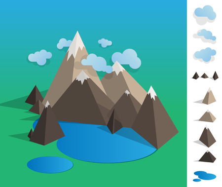 mountain lake: Geometric illustration of mountain landscape with lake, colourfull with used elements set like cloud, mountains, lake