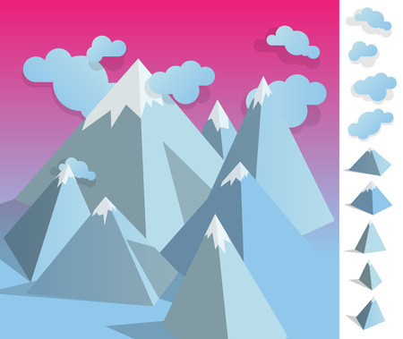 colourfull: Geometric illustration of  iceberg mountain landscape colourfull with used elements set like clouds and mountains