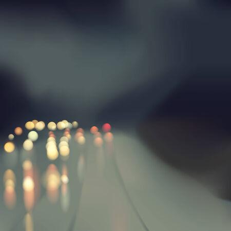 hosszú expozíció: Eső road absztrakt háttér autó fények pontokat és a vihar ég Bokeh hatást, elhomályosít, hálós illusztráció