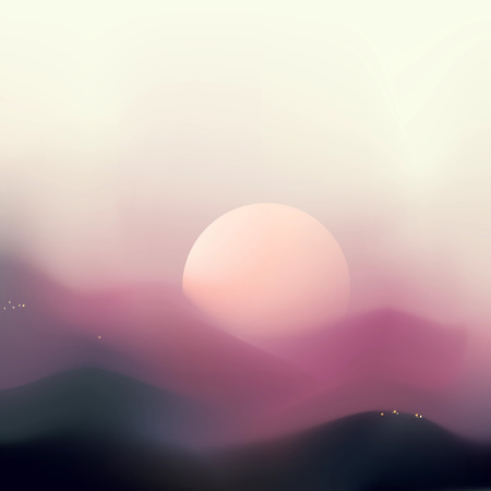 DOWN TOWN: Abstract mountain landscape background with deep of field and sunrise colours sky  Purple colours, bokeh effect, blur, mesh illustration  Illustration