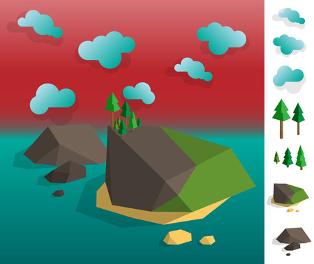 non urban: Geometric illustration of island archipelago landscape on the water, colourful with used elements set like cloud, trees, islands Illustration