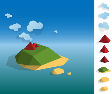 two dimensional shape: Geometric illustration of tropical island landscape on the ocean, colourful with used elements set like cloud, mountains, island